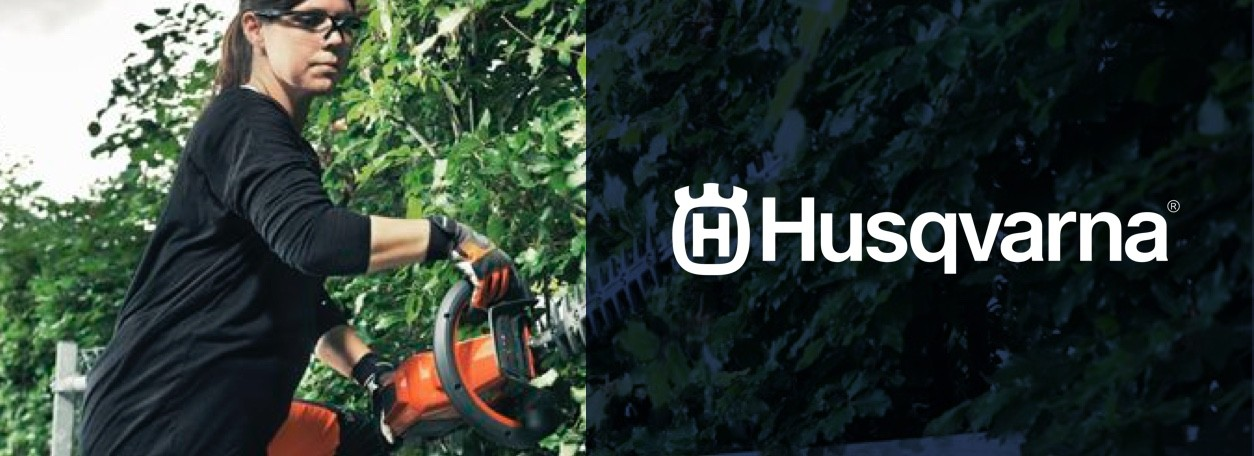 Husqvarna logo with woman trimming hedge with trimmer