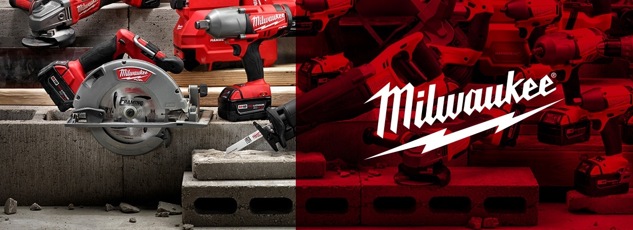 Milwaukee power tools and saws with logo