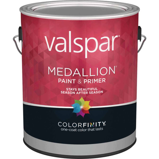 Valspar Medallion 100% Acrylic Paint & Primer Semi-Gloss Exterior House Paint, White, 1 Gal.