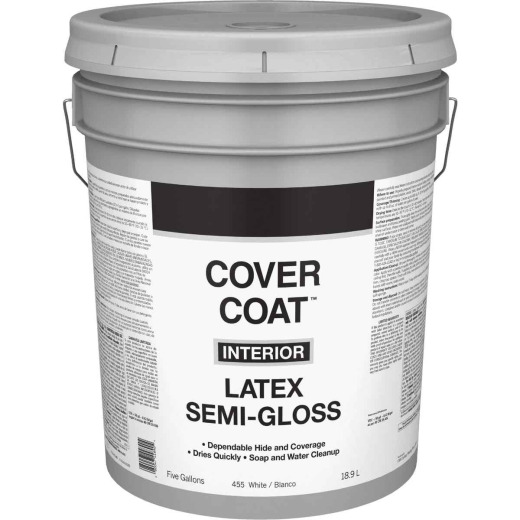 Cover Coat Latex Semi-Gloss Interior Wall Paint, White, 5 Gal.
